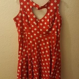 Red and white polka dots.